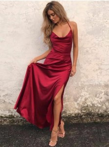 A-Line Scoop Floor-Length Red Elastic Satin Prom Dress with Split