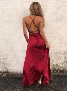 A-Line Scoop Floor-Length Red Elastic Satin Prom Dress with Split