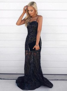 Mermaid Spaghetti Straps Sweep Train Lace Prom Dress with Sequins