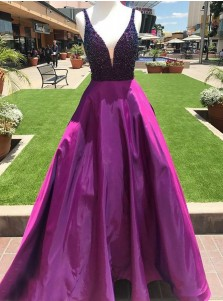 A-Line V-Neck Sweep Train Fuchsia Satin Prom Dress with Beading Pockets