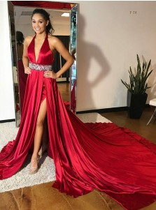 A-Line Deep V-Neck Red Elastic Satin Prom Dress with Split Sequins