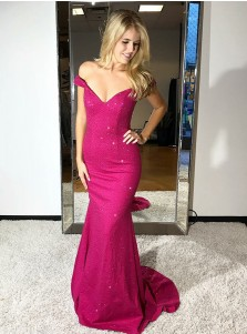 Mermaid Off-the-Shoulder Fuchsia Elastic Satin Prom Dress with Beading