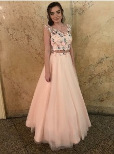 Two Piece Round Neck Pink Tulle Prom Dress with Appliques