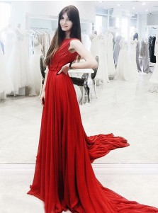 A-Line Bateau Sweep Train Red Chiffon Evening Prom Dress