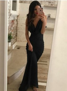 Sheath V-Neck Criss-Cross Black Elastic Satin Prom Dress