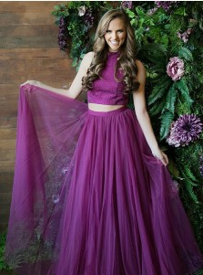 Two Piece Round Neck Grape Tulle Prom Dress with Sequins