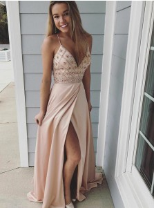 A-Line Spaghetti Straps Pink Elastic Satin Prom Dress with Beading