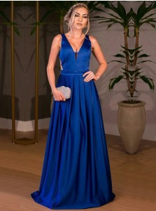 A-Line V-Neck Cut Out Pleated Royal Blue Elastic Satin Prom Dress