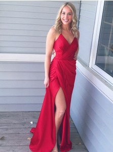 Sheath Spaghetti Straps Red Elastic Satin Prom Dress with Split
