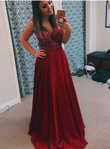 A-Line V-Neck Dark Red Chiffon Prom Dress with Beading