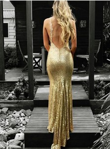 Mermaid V-Neck Backless Gold Sequined Prom Dress with Appliques