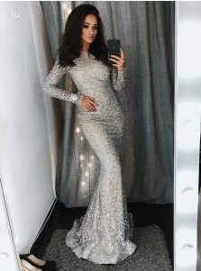 Mermaid Bateau Silver Lace Evening Prom Dress with Sequins