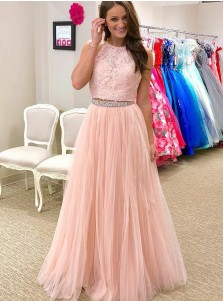 Two Piece Round Neck Pink Tulle Prom Dress with Lace Beading
