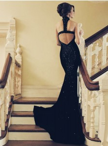 Mermaid Jewel Open Back Black Elastic Satin Prom Dress with Beading