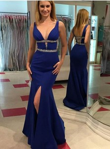 Mermaid V-Neck Sweep Train Blue Elastic Satin Prom Dress with Beading
