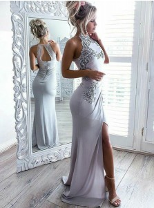Sheath Round Neck Grey Spandex Prom Dress with Appliques Split