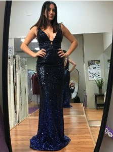 Mermaid V-Neck Sweep Train Ombre Color Sequined Prom Dress