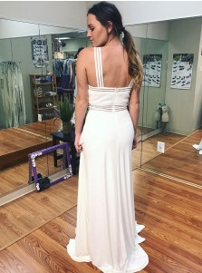 A-Line Cross Neck Sweep Train White Chiffon Prom Dress