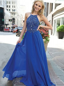 A-Line Round Neck Blue Chiffon Prom Dress with Beading