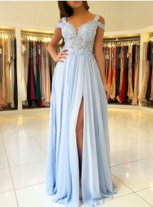 A-Line Cold Shoulder Light Blue Chiffon Prom Dress with Appliques