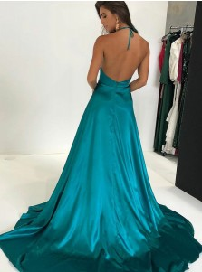 A-Line Halter Turquoise Elastic Satin Prom Dress with Split