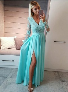 A-Line V-Neck Royal Blue Chiffon Prom Dress with Appliques