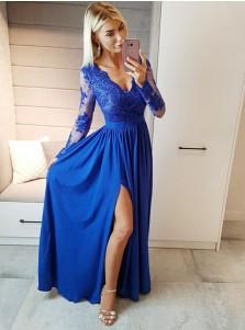 A-Line V-Neck Royal Blue Chiffon Prom Dress with Appliques