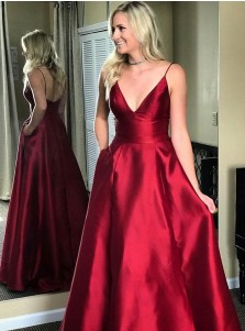 A-Line V-Neck Sweep Train Red Satin Prom Dress with Pockets