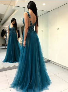 A-Line V-Neck Turquoise Tulle Prom Dress with Appliques Beading