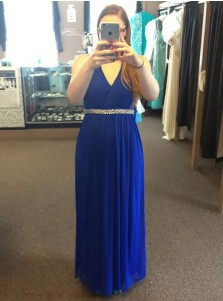 A-Line V-Neck Open Back Blue Chiffon Plus Size Prom Dress with Beading