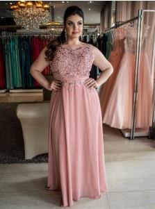 A-Line Bateau Blush Chiffon Plus Size Prom Dress with Appliques