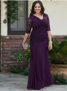 Mermaid V-Neck Grape Ruched Chiffon Plus Size Prom Dress with Lace