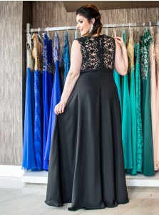 A-Line V-Neck Low Cut Black Chiffon Plus Size Prom Dress with Lace