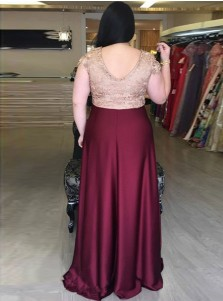 A-Line V-Neck Dark Red Elastic Satin Plus Size Prom Dress with Lace Appliques