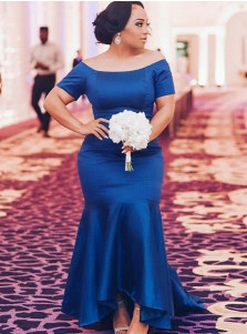 Mermaid Off-the-Shoulder Royal Blue Elastic Satin Plus Size Satin Prom Dress