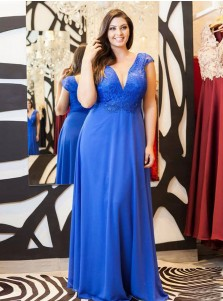 A-Line V-Neck Blue Chiffon Plus Size Prom Dress with Lace