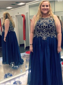 A-Line Round Neck Blue Chiffon Plus Size Prom Dress with Beading Sequins