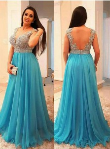 A-Line V-Neck Turquoise Plus Size Chiffon Prom Dress with Beading