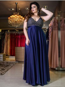 A-Line V-Neck Blue Floral Elastic Satin Plus Size Prom Dress