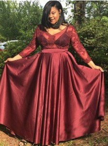 A-Line V-Neck Dark Red Elastic Satin Plus Size Prom Dress with Appliques