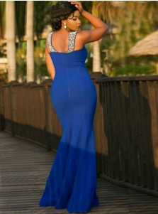 Mermaid V-Neck Royal Blue Plus Size Elastic Satin Prom Dress with Beading