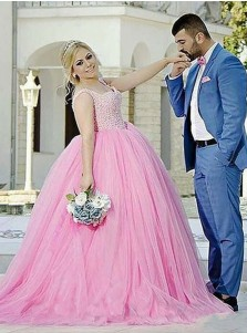 Ball Gown Scoop Neck Pink Tulle Plus Size Prom Dress with Beading