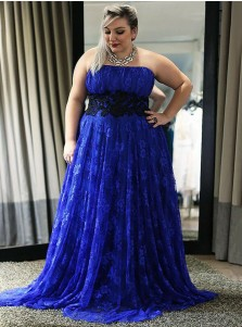 A-Line Strapless Royal Blue Lace Plus Size Dress with Appliques