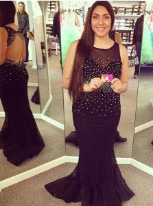 Mermaid Round Neck Black Tulle Plus Size Prom Dress with Beading