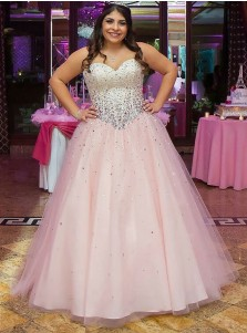 A-Line Sweetheart Pink Tulle Plus Size Prom Dress with Beading
