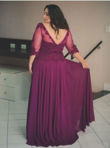 A-Line Bateau Wine Chiffon Plus Size Prom Dress with Appliques Beading