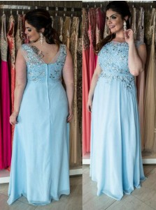 A-Line Round Neck Light Blue Chiffon Plus Size Prom Dress with Beading Appliques