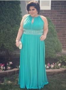 A-Line Round Neck Turquoise Chiffon Plus Size Prom Dress with Keyhole Appliques
