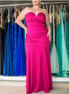 Mermaid Sweetheart Floor Length Plus Size Fuchsia Prom Dress