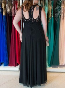 A-Line Round Neck Open Back Black Chiffon Plus Size Prom Dress with Lace